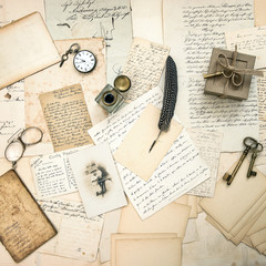old letters and postcards, vintage accessory and antique photo
