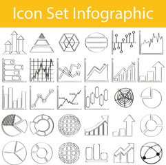 Drawn Doodle Lined Icon Set Infographic