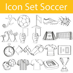 Drawn Doodle Lined Icon Set Soccer
