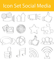 Drawn Doodle Lined Icon Set Social Media