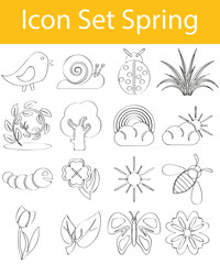 Drawn Doodle Lined Icon Set Spring