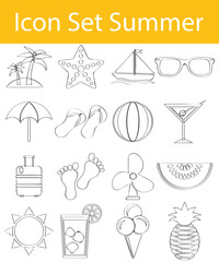 Drawn Doodle Lined Icon Set Summer