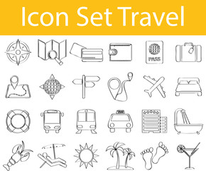 Drawn Doodle Lined Icon Set Travel