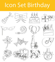 Drawn Doodle Lined Icon Set Birthday