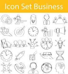 Drawn Doodle Lined Icon Set Business