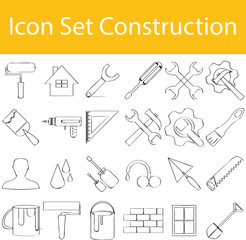 Drawn Doodle Lined Icon Set Construction I
