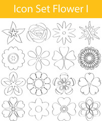 Drawn Doodle Lined Icon Set Flower I