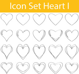 Drawn Doodle Lined Icon Set Heart I