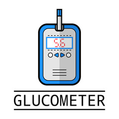 Glucometer, test strip. Label, flat icon, medical equipment. Diabetes