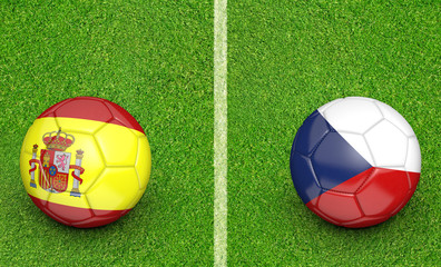 Team balls for Spain vs Czech Republic football tournament match, 3D rendering