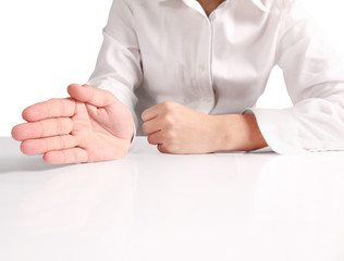 Open hands holding showing