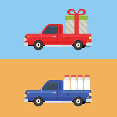Pickup car to delivery gift and milk