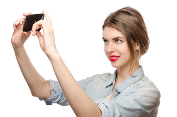 Pretty young woman take selfie with cellphone smartphone