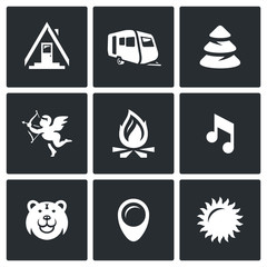 Vector Set of Camping Icons. Camp, Trailer, Forest, Romance, Fire, Music, Animal, Site, Weather.