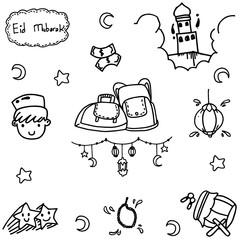 Element doodle vector art muslim