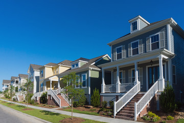Street of residential houses with porches
