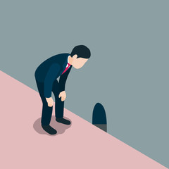 Business man look down thrugh rat hole. vecter illustration.