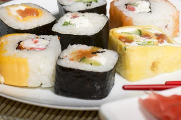 Traditional Japanese food Sushi. Closeup japanese sushi on a bam
