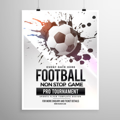 football soccer game tournament flyer brochure template