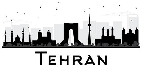 Tehran City skyline black and white silhouette.