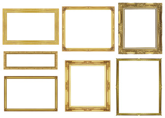 collection golden frame isolated on white background, clipping p