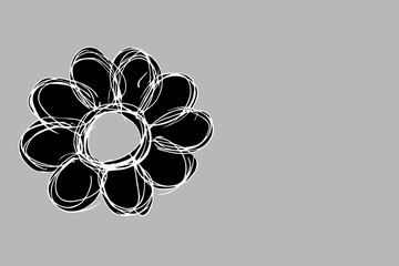 grey floral silhouette on grey background - template