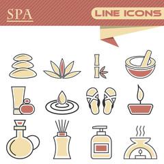 Set of spa thin line icons