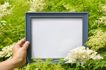 Hand holding picture frame in flower