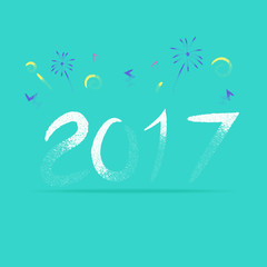 Vector, 2017 New year with firework in rough pencil brush style,