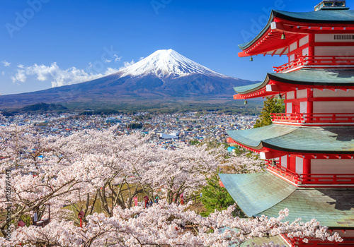Wall mural Mt. Fuji with Chureito Pagoda, Fujiyoshida, Japan