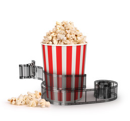 box of popcorn with a strip of 35mm film on a white background,