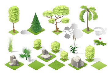 Isometric plants garden forest collection vector set