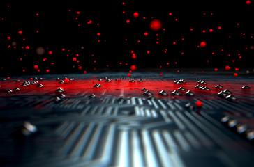 Macro Circuit Board Infection Wall mural