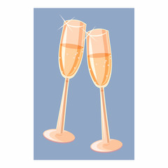 Two champagne glasses icon, cartoon style
