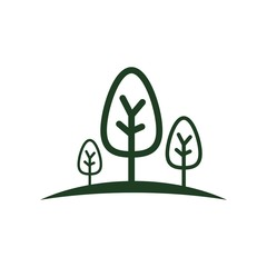 Logo abstract forest spruce pine green vector