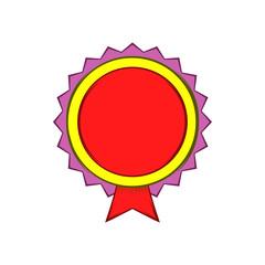 Award rosette icon, cartoon style