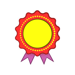 Award rosette with violet ribbon icon