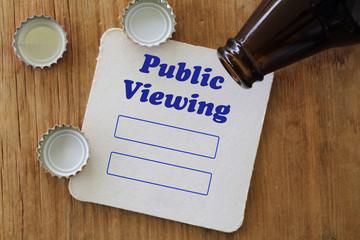 Bierdeckel mit Text: Public Viewing und Tabelle