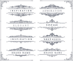 Collection of vintage flourishes calligraphic ornaments and frames. Retro style of design elements, decorations for postcard, banners, logos. Vector template
