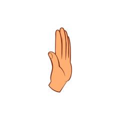 Stop gesture icon, cartoon style