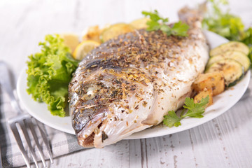 grilled fish and vegetable