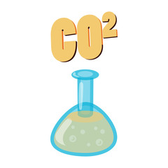Carbon dioxide in test flask, CO2 icon
