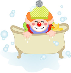 Adorable clown taking a bath