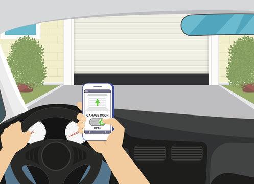 Remote access via smartphone mobile app to the garage door. Flat illustration of human hand holds smartphone with mobile app for remote household control. Man unlocks garage door sitting in the car