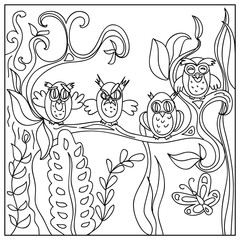 Funny Owls kids Coloring Page isolated on white
