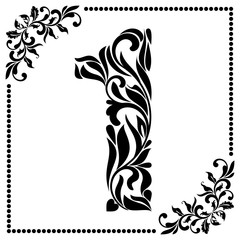 Decorative Font with swirls and floral elements. Ornate decorated digit one on white background.