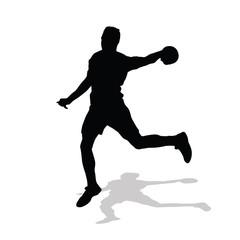 Handball player throws ball to goal. Vector silhouette handball