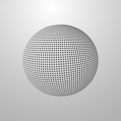 vector illustration of a halftone sphere.