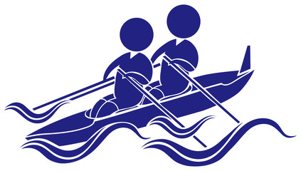 Sport icon design for kayaking in blue