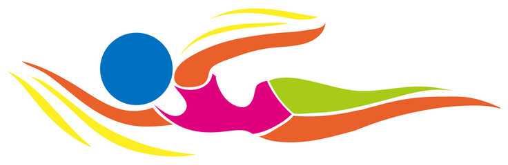 Sport icon design for swimming in color